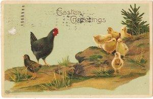 どっちがお母さん?ひよこと雌鳥*Easter Greetings*アンティークポストカード*イースター*葉書