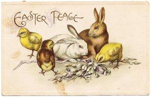 2羽のうさぎとひよこ*Easter Greetings*アンティークポストカード*イースター*葉書