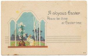 百合の花と白ウサギ*Easter Greetings*アンティークポストカード*イースター*葉書