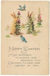 幸せの青い鳥と白とベージュのうさぎ*Easter Greetings*アンティークポストカード*イースター*葉書