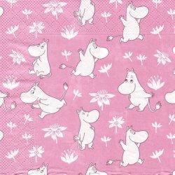 ムーミン/MOOMIN ローズ ROSE*ピンク総柄/1枚/33cm/ペーパーナプキン/バラ売り/デコパージュ