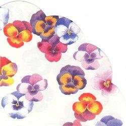 34cm SWARM OF PANSIES ホワイト 彩々パンジー一輪 1枚 バラ売り サークル スカラップ型ペーパーナプキン デコパージュ用 紙ナプキン Ihr