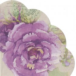 32cm 水彩藤色の薔薇 パープル 1枚 バラ売り サークル スカラップ型ペーパーナプキン デコパージュ用 紙ナプキン Paw