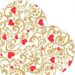 32cm 金色のスワールとハート 1枚 バラ売り サークル スカラップ型ペーパーナプキン デコパージュ用 紙ナプキン Paw