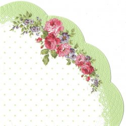 ドットとピンクの薔薇ブーケ ローズ 1枚 ばら売り 直径32cm 円型 スカラップ型 サークル型 ペーパーナプキン Paw