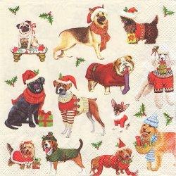 廃番 CHRISTMAS DOGS クリスマスドッグ 犬全員集合! 1枚 バラ売り 33cm ペーパーナプキン Ihr