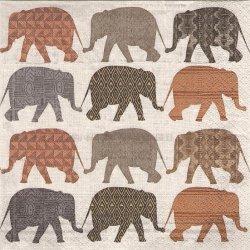 廃盤 Elephants with pattern エレファント・パターン 象 1枚 バラ売り 33cm ペーパーナプキン デコパージュ Paper+Design