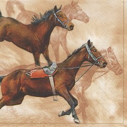 廃盤 疾走する馬 ブラウン 1枚 バラ売り 33cm ペーパーナプキン デコパージュ Maki