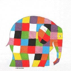 廃盤 ELMER 象のエルマー ホワイト David Mckee 1枚 バラ売り 33cm ペーパーナプキン デコパージュ Ihr