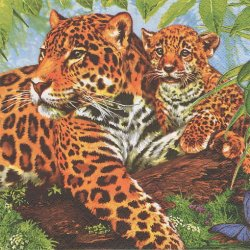 廃盤 Leopard 親子の豹 ヒョウ 1枚 バラ売り 33cm ペーパーナプキン デコパージュ Maki