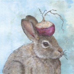 廃盤 The Turnip Guardian かぶ兎 イースター Vicki Sawyer 1枚 バラ売り 33cm ペーパーナプキン デコパージュ ppd
