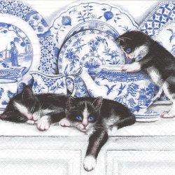Black Cats with China ボーンチャイナと黒猫 1枚 バラ売り 33cm ペーパーナプキン デコパージュ ti-flair