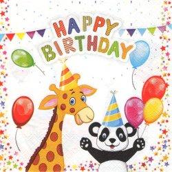 My Birthday 動物バースデー パンダ ライオン 誕生日 1枚 バラ売り 33cm ペーパーナプキン デコパージュ Daisy