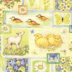 廃盤 Springtime Collage ひよこと羊、花のカード イースター 1枚 バラ売り 33cm ペーパーナプキン デコパージュ ti-flair