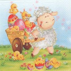 廃盤 Happy Lamb with Barrow ひよこの荷車を引っ張る羊 イースター 1枚 バラ売り 33cm ペーパーナプキン デコパージュ Daisy