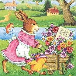 A little Spring for you 花の荷車を引くうさぎ ラビット イースター 1枚 バラ売り 33cm ペーパーナプキン デコパージュ ti-flair