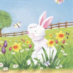Easter Hide and Seek イースターのかくれんぼ うさぎ ラビット イースター 1枚 バラ売り 33cm ペーパーナプキン デコパージュ ti-flair