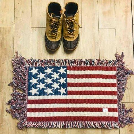 星条旗 U.S.A. インド綿 ハンドメイドラグ(2枚セット)