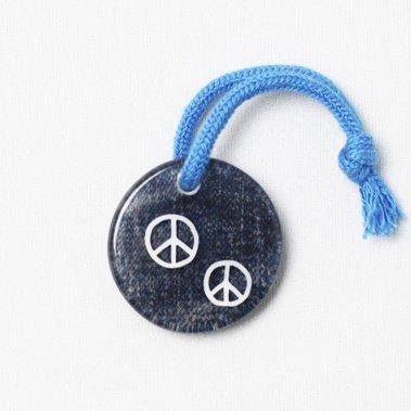 【Hatano's Memorial】PEACEデニム 樹脂キーホルダー