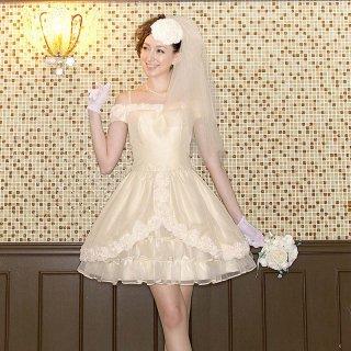 【レンタルドレス】フラワーモチーフチューリップドレス ベージュ