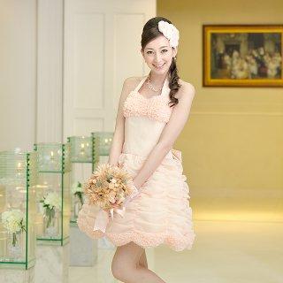 【レンタルドレス】フリルドレープ2wayドレス ピンク