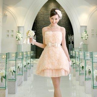 【レンタルドレス】ビッグフラワーモチーフドレス ピンク