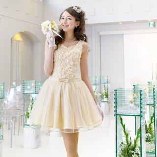 【レンタルドレス】フラワーモチーフ チュールドレス ベージュ