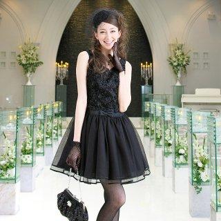 【レンタルドレス】フラワーモチーフ チュールドレス ブラック