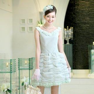 【レンタルドレス】フラワーモチーフ ドレープドレス グリーン