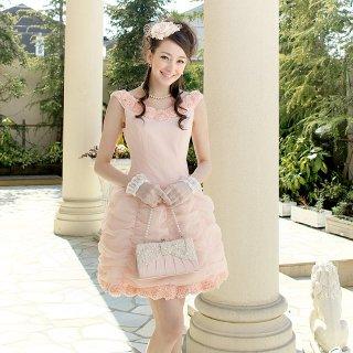 【レンタルドレス】フラワーモチーフ ドレープドレス ピンク