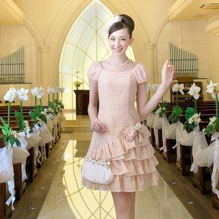 【レンタルドレス】レース アシンメトリー ラッフル フリルドレス ピンク