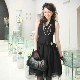 【レンタルドレス】レース ウィングカラー ドレス ブラック