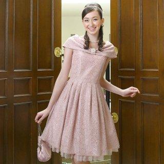 【レンタルドレス】コードレース フレアードレス ピンク