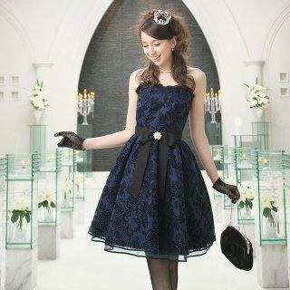 【レンタルドレス】フロッキー ローズ ベアトップドレス ネイビー