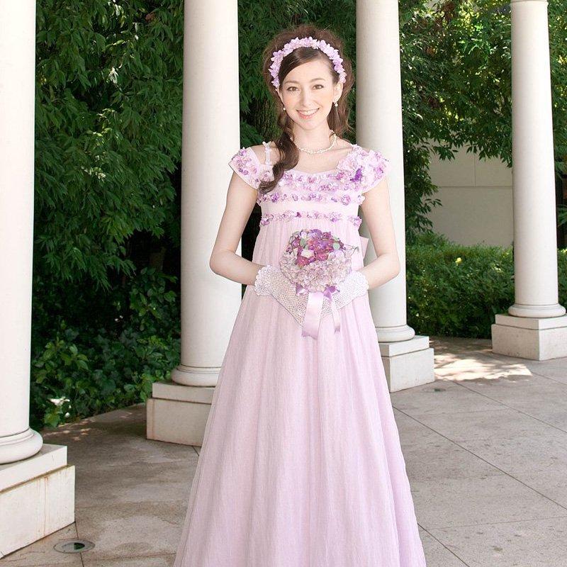 エンパイアライン オフショルダーバックラッフルドレス パープル , ゲストドレスやパーティードレスのレンタル販売 チェリーピーチブロッサム