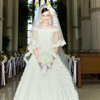 Aライン フラワーモチーフバルーンドレス