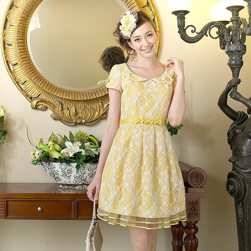 【販売ドレス】レースピーターパンカラータックドレス イエロー , ゲストドレスやパーティードレスのレンタル販売|チェリーピーチブロッサム