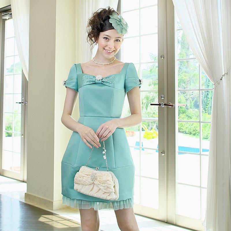 e5179a1dc2ea0  レンタルドレス サテン コクーンドレス グリーン - ゲストドレスやパーティードレスのレンタル販売|チェリーピーチブロッサム