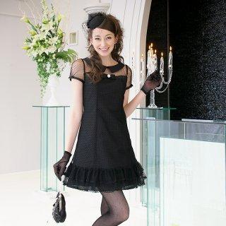 【レンタルドレス】襟付き フロッキー ドット カラードレス ブラック