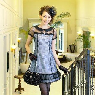 【レンタルドレス】襟付き フロッキー ドット カラードレス ブルー