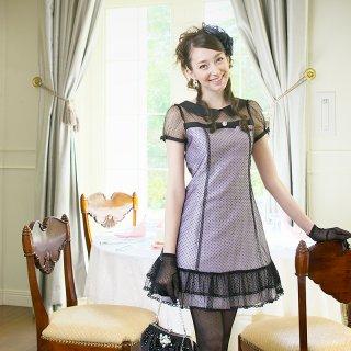 【レンタルドレス】襟付き フロッキー ドット カラードレス パープル