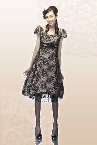 【レンタルドレス】レース リボン バルーンドレス ブラック , ゲストドレスやパーティードレスのレンタル販売|チェリーピーチブロッサム