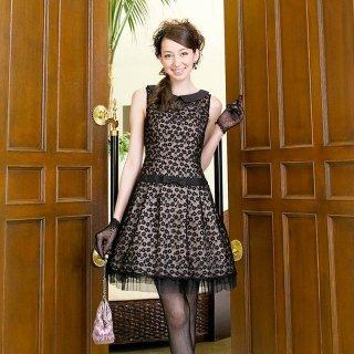 【レンタルドレス】襟付き フラワー刺繍 チュールドレス ピンク