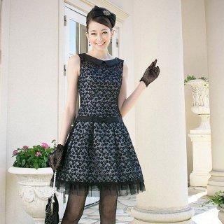 【販売ドレス】襟付きフラワー刺繍チュールドレス ブルー
