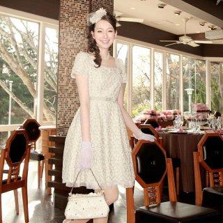 【レンタルドレス】刺繍 レース フレアードレス グリーン