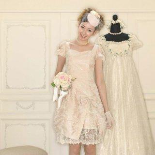 【レンタルドレス】レース フロントラッフル バルーンドレス ピンク