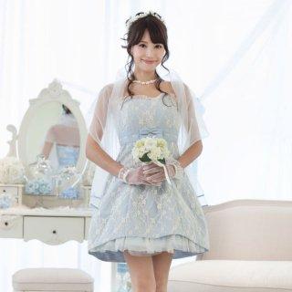 【レンタルドレス】レースリボンバルーンブライズメイドドレス