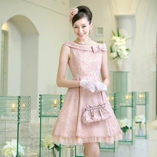 【オーダードレス】 コードレース ロールカラー フレアードレス ピンク