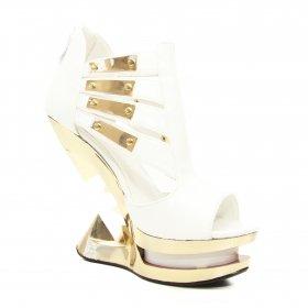 海外取寄 白いエナメルのサンダルにピラミッドヒールNEBULA|ヘイディーズ-ブランド靴通販