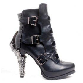 海外取寄 ベルトで留めたブラックボディに鉤爪ヒールのショートブーツNEO ヘイディーズ-hades-靴ブランド通販
